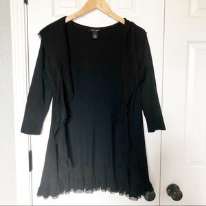 WHBM Black Ruffle Cardigan Sweater